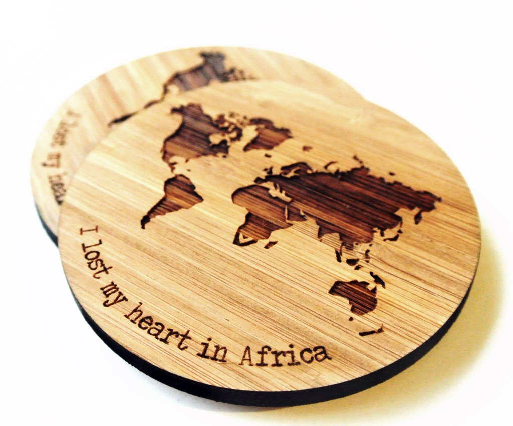 Laser Cut World Map.World Map Engraved Bamboo Coasters Hallo Jane